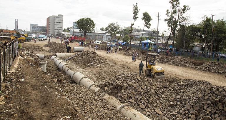Construction of Mexico RBT- Hotel Deafrique Asphalt Road